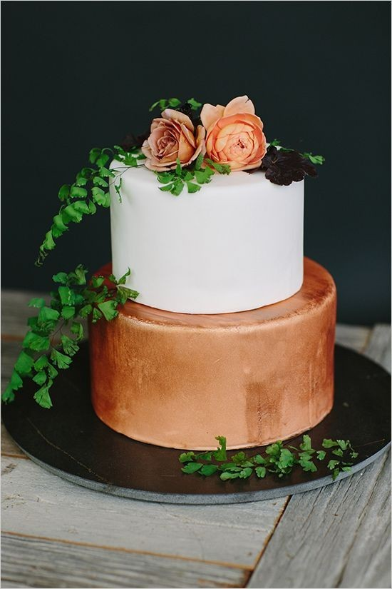 bronze-copper-wedding-cake
